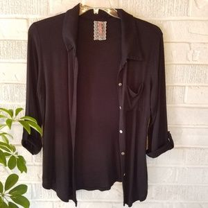 Mauve Black Cardigan Silver Buttons 3/4 sleeve